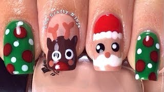 Christmas Santa Rudolph Reindeer Nails By The Crafty Ninja