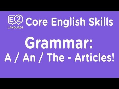 E2 Core Skills Lecture: Grammar: A / An / The: Articles