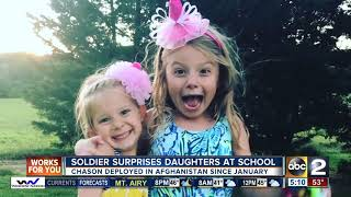 Soldier surprises daughters in school for Veteran's Day Assembly