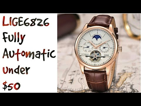 LIGE6826 Fully Automatic Open Heart Wristwatch Full Review In English