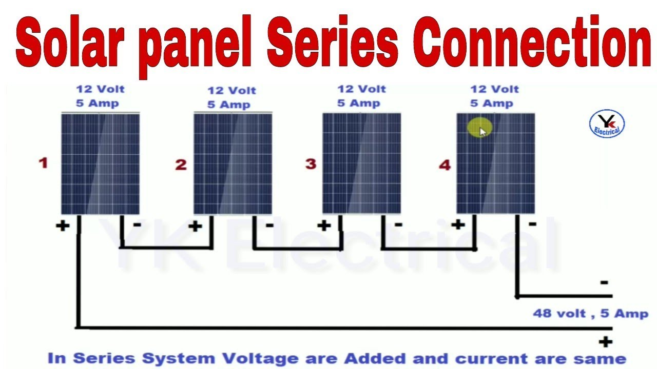 Solar panels series connection | solar inverter wiring in hindi | Yk Electrical  YouTube