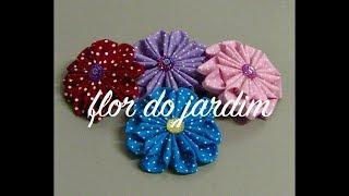 Linda flor de tecido com 10 Petalas – Passo a Passo com flor do jardim