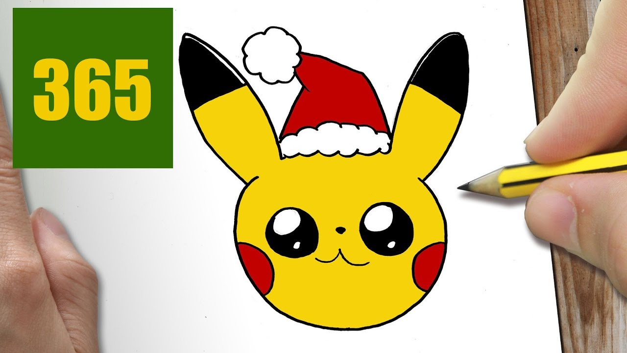 Comment dessiner pikachu no l kawaii tape par tape - Dessin de noel facile a faire ...