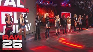 Raw 25 celebrates The Bella Twins, Torrie Wilson, Jacqueline, Maria Kanellis, Maryse, Kelly Kelly, Lilian Garcia, Terri Runnels, Michelle McCool and Trish ...