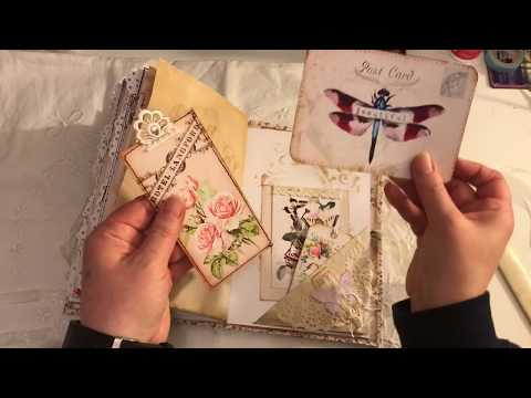 Fabric And Lace Covered Vintage Junk Journal Tsunami Rose ARTYmaze