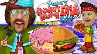 Fgteev Papa's Burgeria In Real Life 🍔 + Donuteria 2  Gameplay/skit