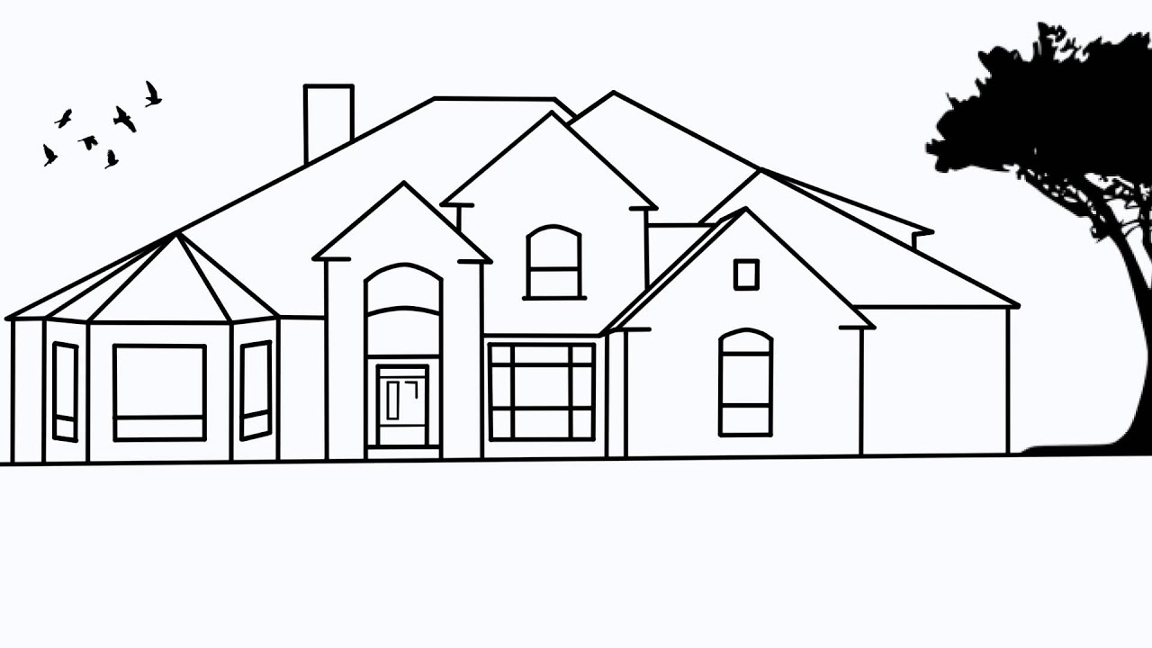 How to draw houses step by step for House drawing easy