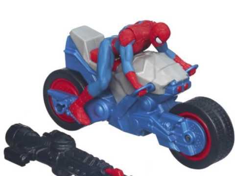V hicule moto jouet spiderman marvel ultimate spider man blast 39 n go spider cycle youtube - Spider man moto ...