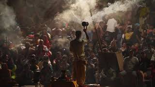 Ganga Aarti Fire Ceremony On Banks Of Ganges River Varanasi India