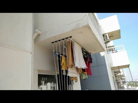 clothes drying ceiling hanger youtube. Black Bedroom Furniture Sets. Home Design Ideas