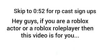 Roblox - Roleplay Channel Cast Sign Ups