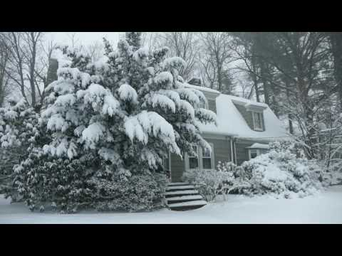 Winter Cabin in a Snowstorm | Falling Snow & Heavy Winds Blowing