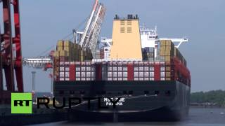 Germany: One of the world's largest cargo ships docks in Hamburg