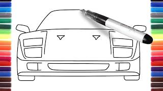 How to draw a car Ferrari F40 front view step by step