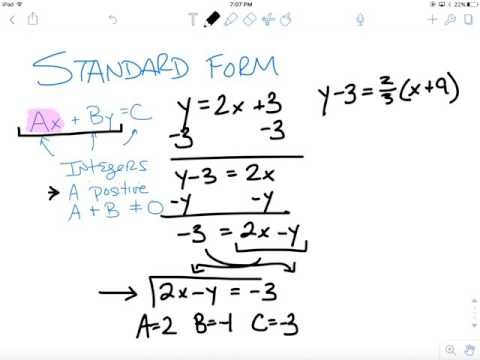 Writing Equations In Ax+By=C Form