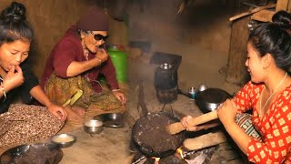 Nepali Village Food DHIDO and Potato curry Eating in the Family
