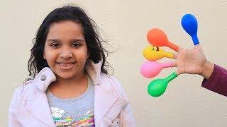 Keysha Bermain Mengisi Air Dalam Balon Daddy Finger Nursery Rhymes | Learn Colors With Balloons