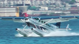 Seair Cessna Caravan Seaplane Landing at Vancouver Harbour Water Airport