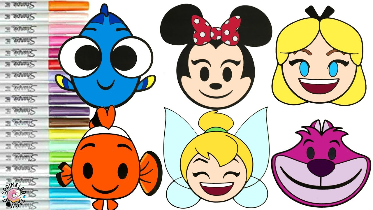 Disney Emoji Blitz Coloring Book Pages Dory Nemo Alice in Wonderland  Tinkerbelle and More