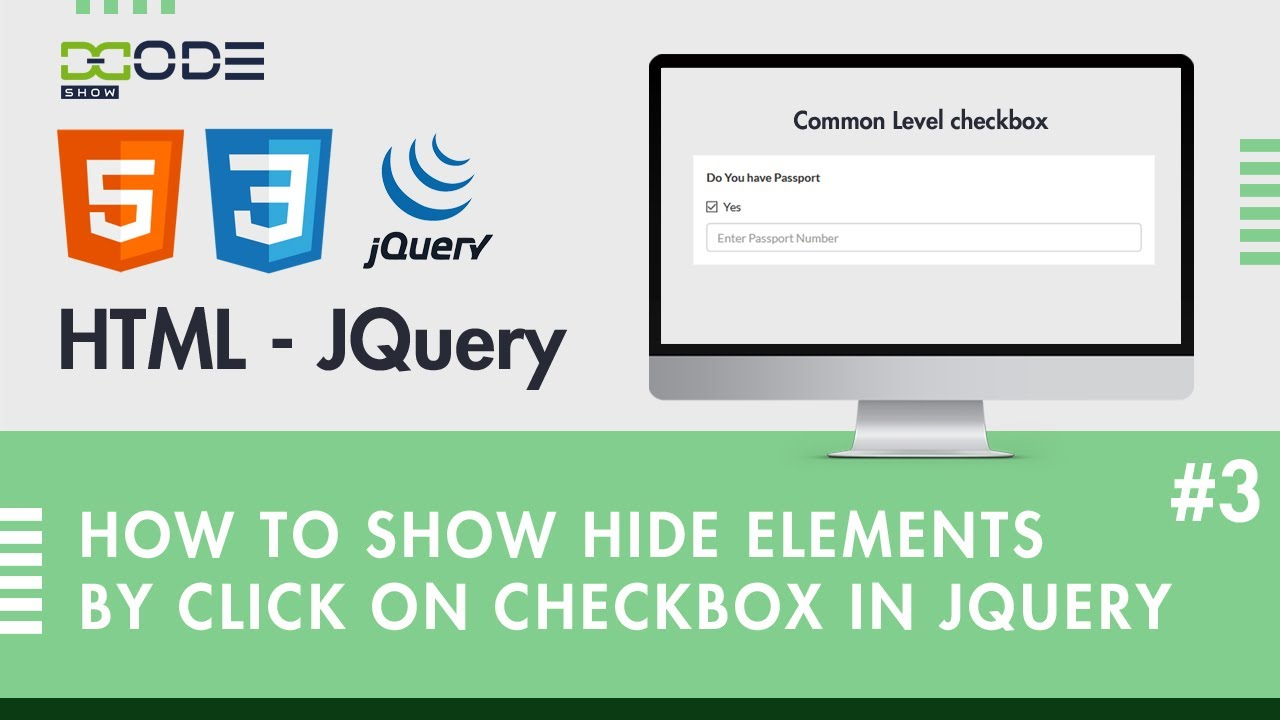 How to show Hide Elements By click on checkbox in JQuery   JQuery Checkbox Show Hide