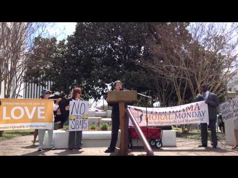 "Rev. Lynn Hopkins @ Moral Monday Alabama speaks about HB56 ""Freedom of Religion in Marriage"""