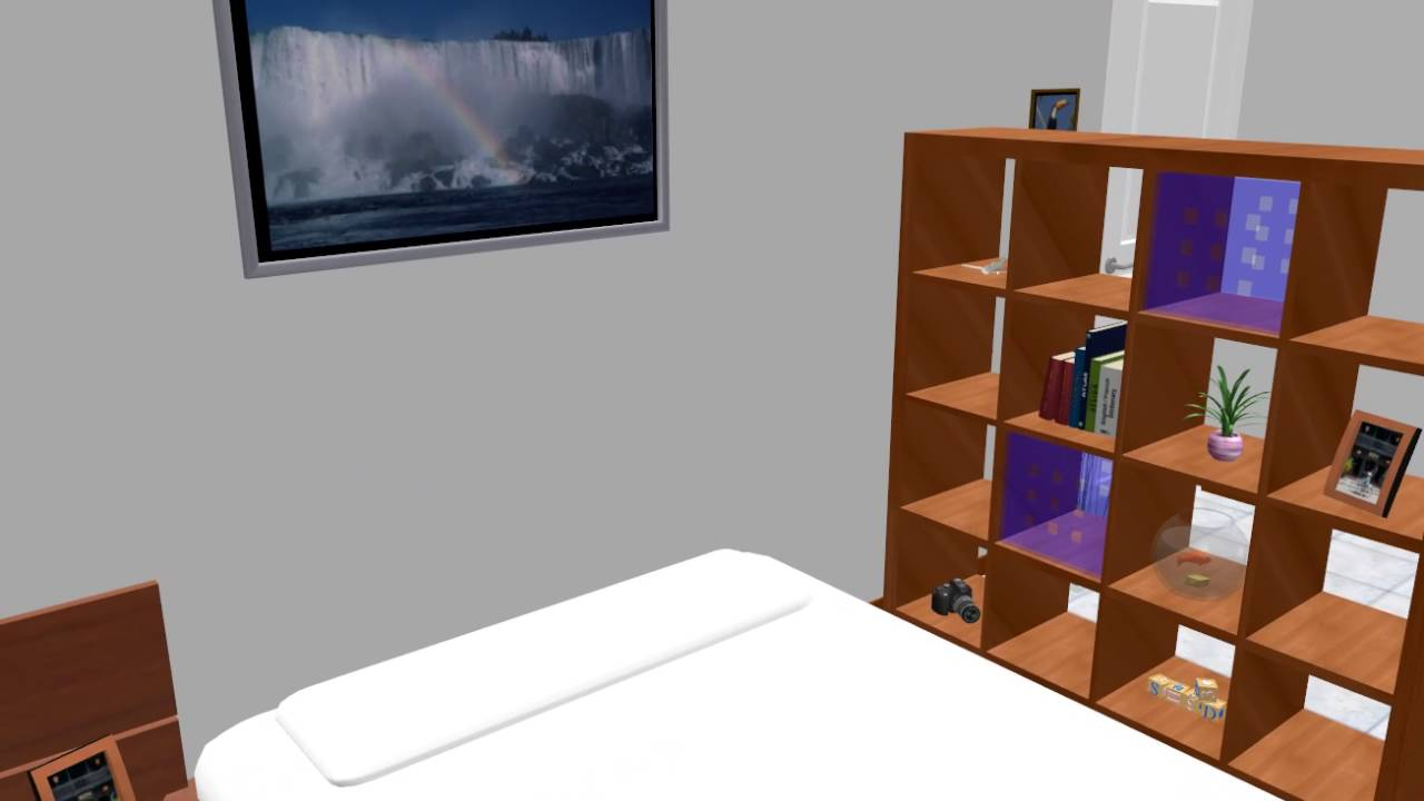寝室レイアウト 10畳 クイーン 仕切り 棚 - YouTube