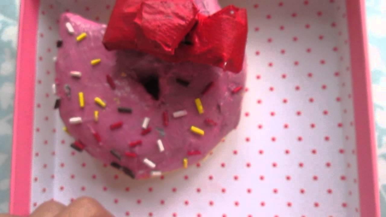 Homemade hello kitty squishy donut replica - YouTube