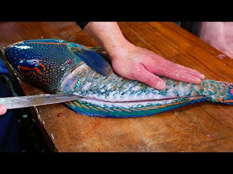 Japanese Street Food - GIANT PARROTFISH SASHIMI Okinawa Japan