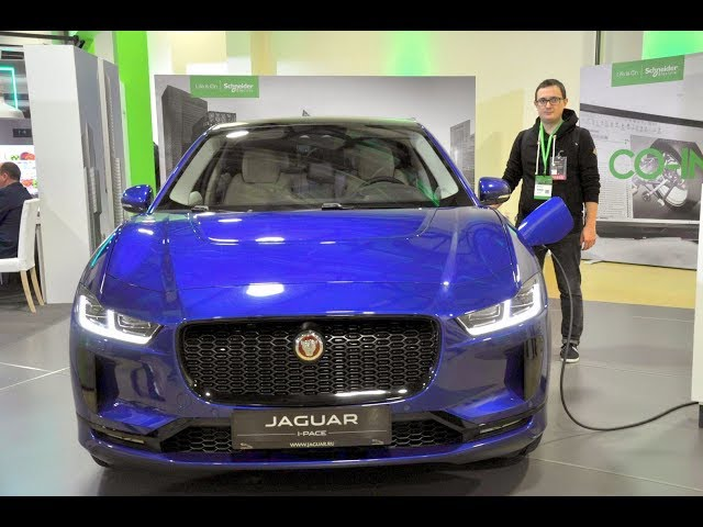 Внешний обзор электромобиля Jaguar I-PACE на Innovation Summit Moscow-2019 от Schneider Electric
