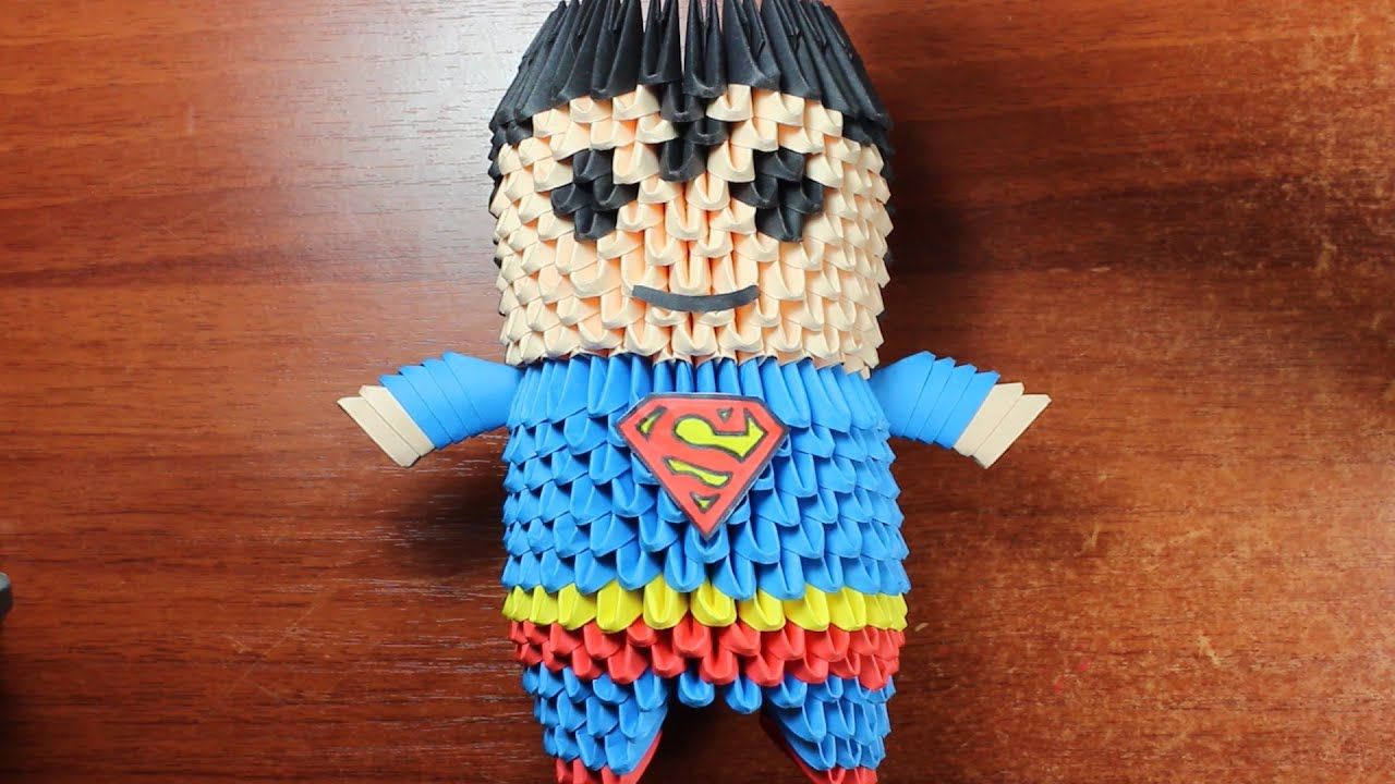 Superman origami 3d tutorial youtube jeuxipadfo Image collections