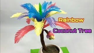 Kerajinan dari SEDOTAN PLASTIK | RAINBOW COCONUT TREE | Pohon Kelapa Rainbow