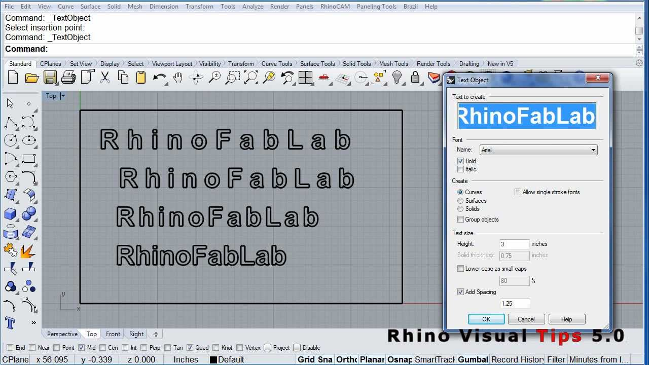Rhino Visual Tips 5 Text Object Add Spacing Youtube