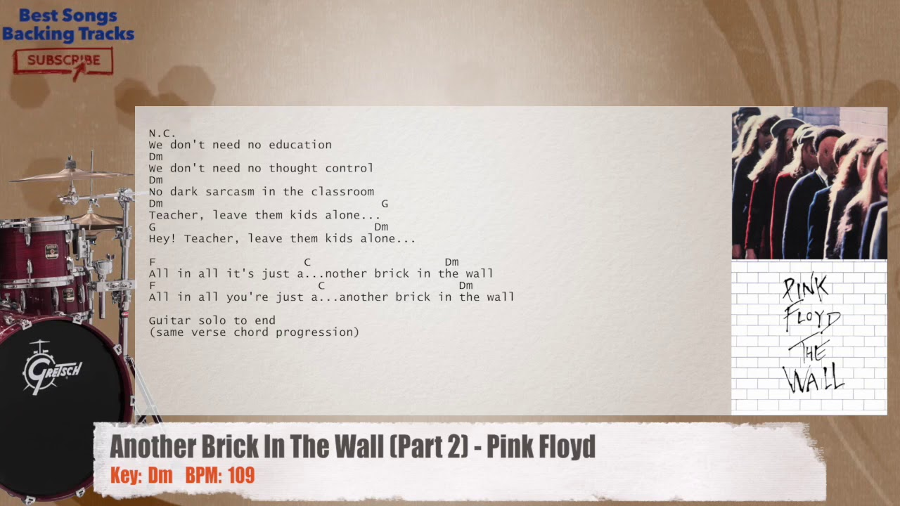 Another Brick In The Wall Pink Floyd Drums Backing Track With