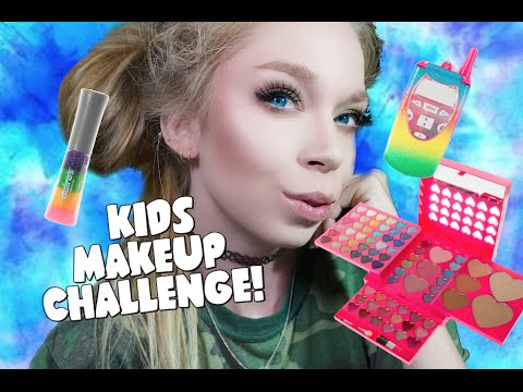 FULL FACE USING ONLY KIDS MAKEUP Challenge | Grav3yardgirl