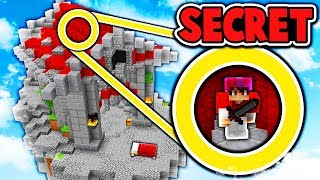 SECRET HIDING SPOT ABOVE BASE! (Minecraft Bed Wars Trolling)