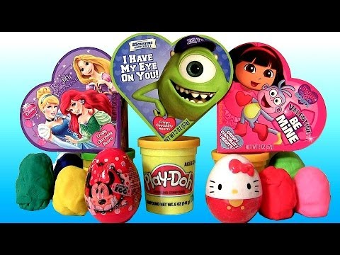 TOY SURPRISE Valentine's Day Disney Princess Kinder Egg Minnie Mickey Mouse Clubhouse Huevos