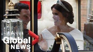 Princess Eugenie, Jack Brooksbank depart wedding by carriage