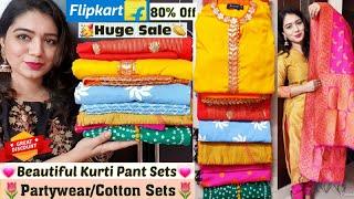 Flipkart Sale 2020| Flipkart Kurti Haul| 80% off Huge Sale|Partywear/Festivewear Kurta Set| Pink's