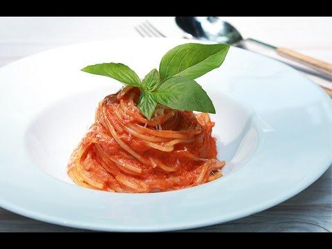 สปาเก็ตตี้กับซอสครีมมะเขือเทศ Spaghetti with Tomato Cream Sauce : พลพรรคนักปรุง