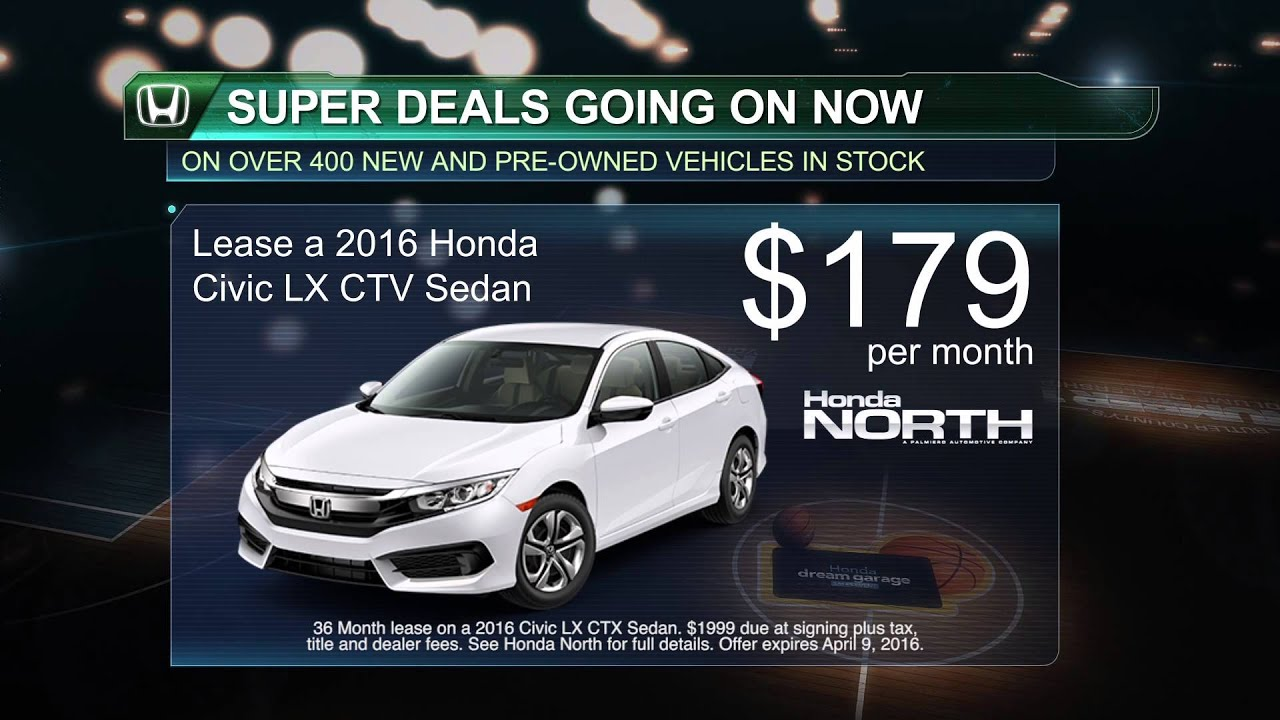 Lease A 2016 Civic Lx Ctv Sedan For Only 179 Month At Honda North