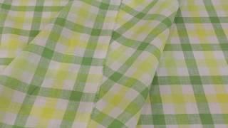 Ткань льняная для постельного белья в клетку ширина 220 зелено-желтая