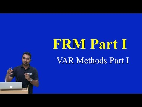 2015 - FRM : VAR Methods Part I (of 2)