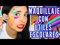 RETO: MAQUILLAJE CON UTILES ESCOLARES | Mariale