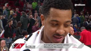 Cj mccollum walkoff interview after win over timberwolves