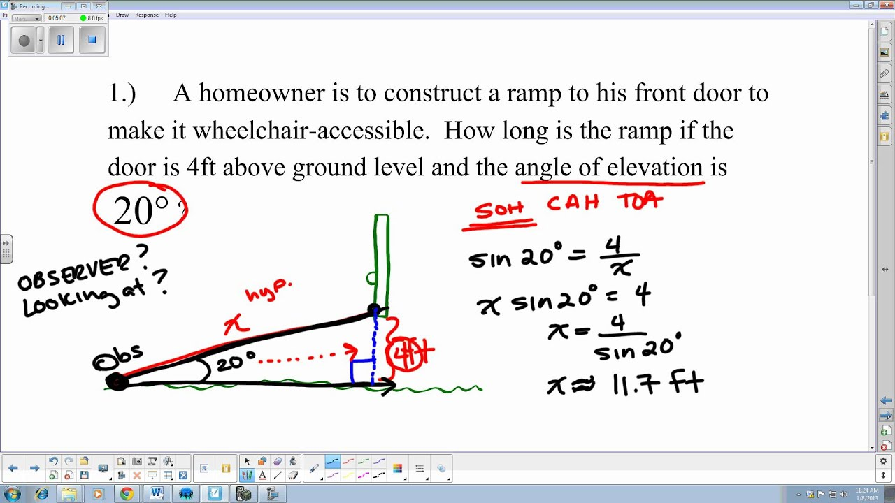 6 2 Solving Application Problems Angle Of Depression And
