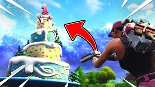 """ALL BIRTHDAY CAKES IN FORTNITE! """"Dance in Front of Different Birthday Cakes"""" - Birthday Challenges!"""