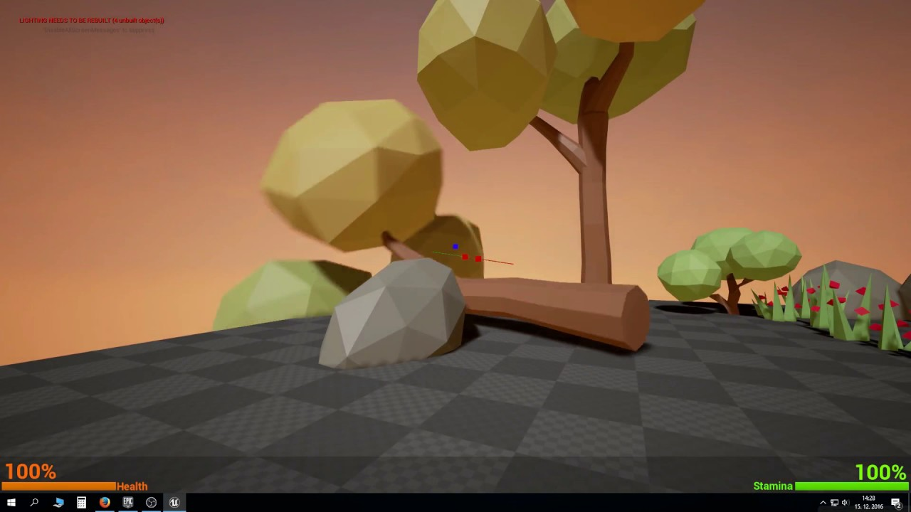 UE4 Survival game tutorial PART 6: Collecting wood and stone materials