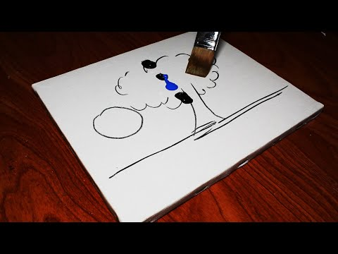 Easy & Simple Landscape Acrylic Painting on Mini Canvas Step by Step black & white| #107|Satisfying