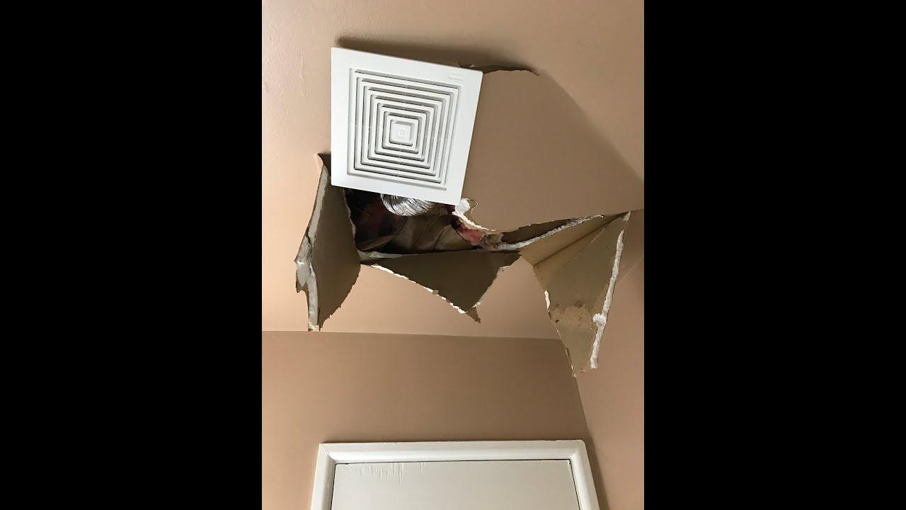 bathroom ceiling repair. Bathroom Ceiling Repair And Ventilation Fan Installation