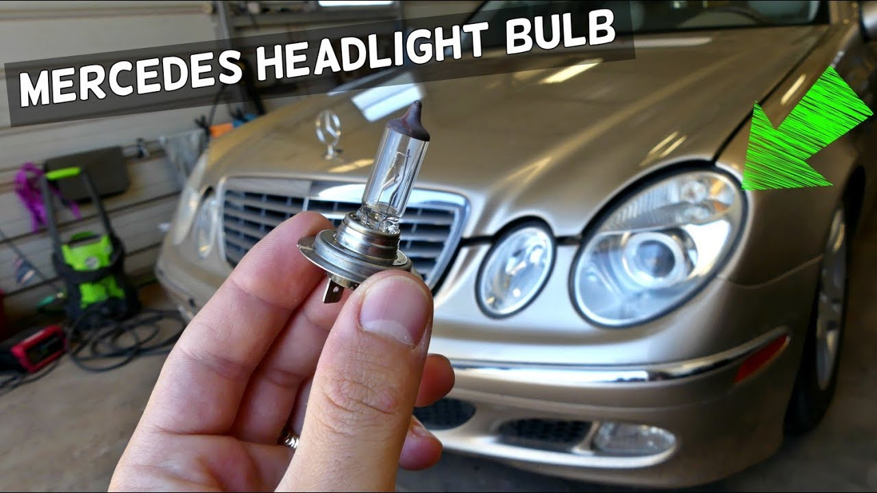 MERCEDES W211 LOW BEAM HEADLIGHT BULB REPLACEMENT REMOVAL
